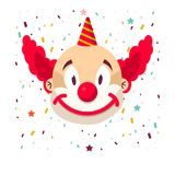 Clown face smile in wig and birthday cap. Vector  icon of cartoon circus funny comic man Royalty Free Stock Photography