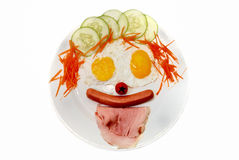 Clown face Western Food. Clown Funny Face Western Breakfast Royalty Free Stock Photography