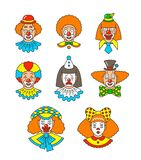 Clown faces different thin line colorful avatars Stock Images