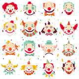 Clown faces vector isolated icons set Royalty Free Stock Image
