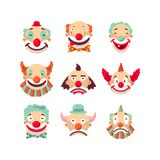 Clown faces vector isolated icons set. Royalty Free Stock Image