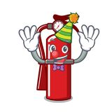 Clown fire extinguisher mascot cartoon. Vector illustration Stock Images