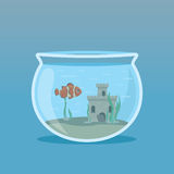 Clown Fish in an aquarium with algae and castles underwater. Vector illustrations.  Royalty Free Stock Photos
