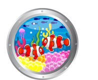 Clown fish cartoon with porthole frame Royalty Free Stock Photos