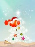 Clown fish at Christmas. Illustration of clown fish at Christmas Stock Photo