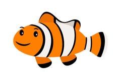 Clown Fish Clownfish de sourire drôles ou anemonefish de natation sous-marine d'isolement sur le blanc Illustration de Vecteur