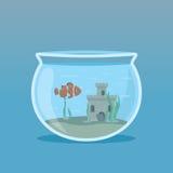 Clown Fish dans un aquarium avec des algues et des châteaux sous-marins vecteur prêt d'image d'illustrations de téléchargement Illustration Stock