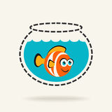Clown Fish in a Fishbowl. Cartoon Tropical Fish in a Fishbowl. Vector icon Royalty Free Stock Image