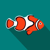Clown fish icon, flat style Stock Photo