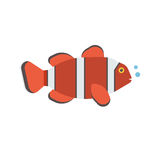 Clown Fish Icon. Tropical red coral fish vector icon. Striped colorful clown-fish illustration Royalty Free Stock Images