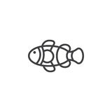 Clown Fish line icon, outline vector sign. Linear pictogram isolated on white. Symbol, logo illustration Royalty Free Stock Image