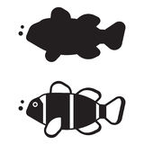 Clown Fish Outline Icon ou logo Photos libres de droits