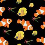 Clown fish and starfish chaetodon seamless pattern vector illustration