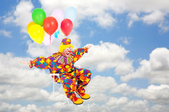 Clown Flies Through Sky Royalty Free Stock Images