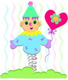 Clown with Flower Balloon Stock Image