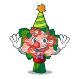 Clown flower bouquet placed on glass cartoon. Vector illustration royalty free illustration