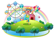 A clown with a flower in an island with a carnival Royalty Free Stock Image