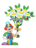 Clown with  flowers Stock Photo