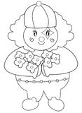 Clown with flowers coloring page Royalty Free Stock Images