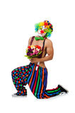 Clown with flowers Royalty Free Stock Photo