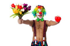 Clown with flowers Stock Photos