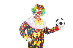 Clown with football ball Stock Photo