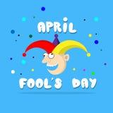 Clown fou Face First April Day, concept de vacances d'imbécile Images libres de droits