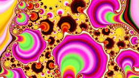 Clown fractals, widescreen. Widescreen fractal shapes growing in form in many colours reminiscent of clown make up of banded tubes rising stock illustration