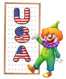 A clown beside the framed USA word Stock Photo