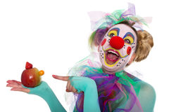 Clown with fruit manikin Royalty Free Stock Photos
