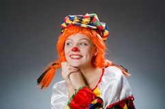 Clown in funny concept on dark background Royalty Free Stock Images