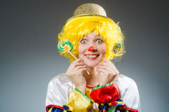 Clown in funny concept on dark background Stock Photography