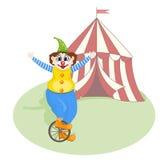 clown gai unicycling illustration de vecteur