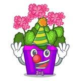 Clown geranium flowers in the cartoon shape. Vector illustration royalty free illustration