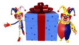 Clown with Giftbox. 3d rendered illustration of Clown with Giftbox Stock Image