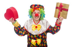 Clown with giftbox isolated on white Stock Image