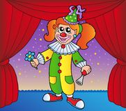 Clown girl on circus stage 1 Stock Image