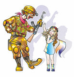 Clown and girl. Couple people clown man in camouflage with machine gun and a girl in a wreath of flowers with a flag Stock Photography