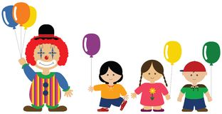 Clown giving balloons to children Stock Image