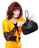 Redhead Actress clown wearing fox costume holding leather bag Stock Photos
