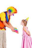 Clown giving presents Stock Photos