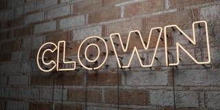 CLOWN - Glühende Leuchtreklame auf Steinmetzarbeitwand - 3D übertrug freie Illustration der Abgabe auf Lager Stockbilder
