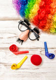Clown with glasses red nose. Carnival mask Stock Photos