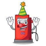 Clown gosoline pump front the cartoon house. Vector illustration stock illustration