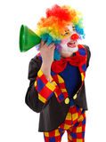 Clown with green funnel. Smiling clown listening for news with a green funnel Royalty Free Stock Images