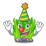 Clown green seaweed in a cartoon aquarium. Vector illustration stock illustration