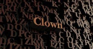 Clown - hölzernes 3D übertrug Buchstaben/Mitteilung Stockbilder