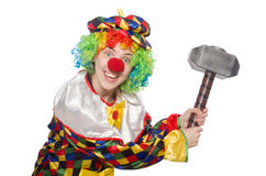 Clown with hammer isolated on white Royalty Free Stock Photos