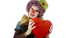 The clown has a big heart stock footage