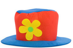 Clown hat over white background. Colorful clown hat over white background royalty free stock photos